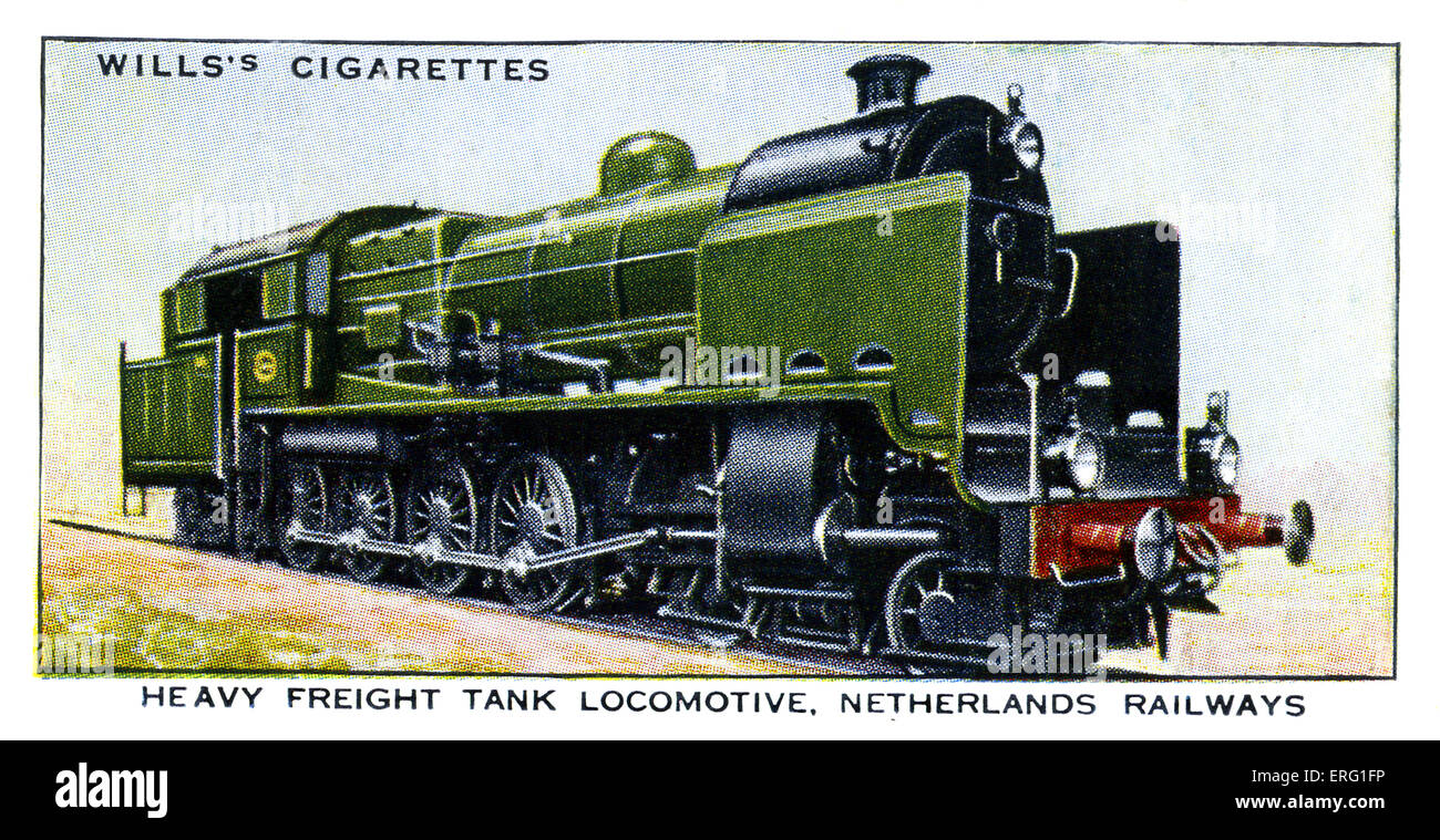 Heavy Freight Tank Locomotive. 4-8-4 heavy tank engine for carrying freigh on the Netherlands Railways. Some of - Stock Image