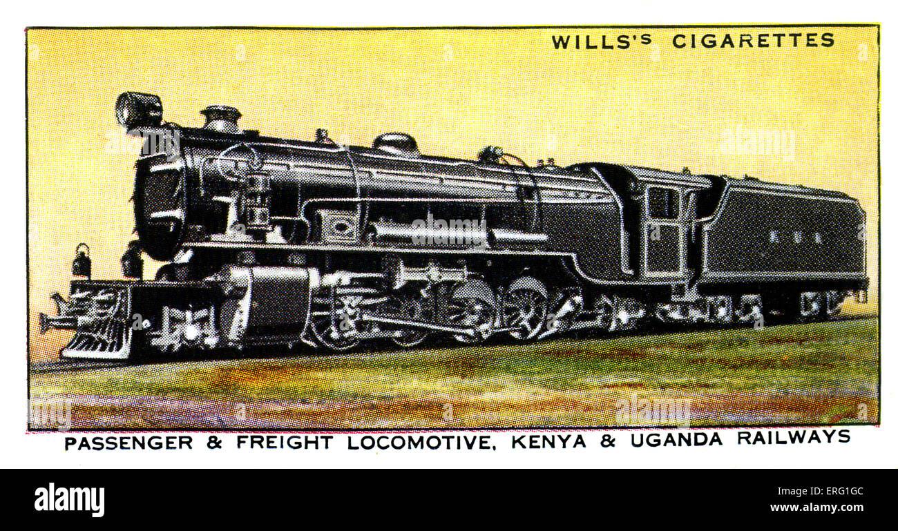 Kenyan and Ugandan Locomotive. 1930s. Passenger and freight locomotive on the Kenya and Uganda Railways. A 2-8-2 - Stock Image