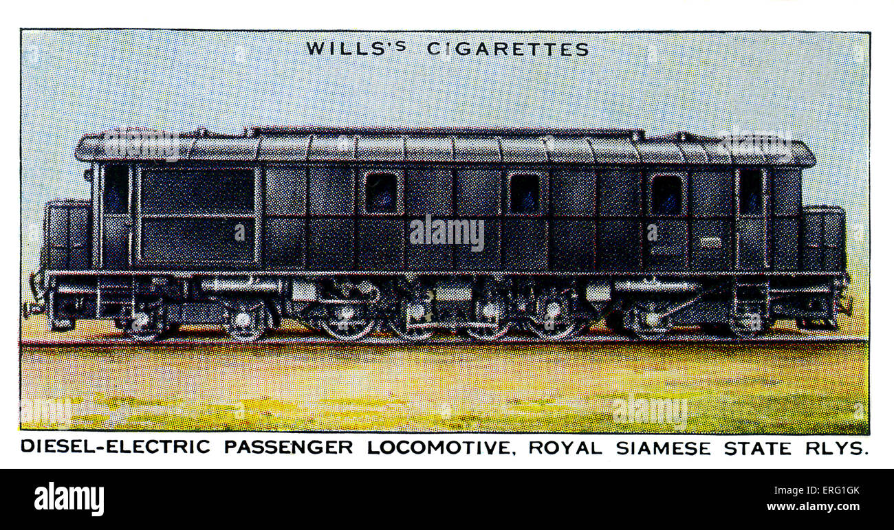 Diesel-Electric Passenger Locomotive. 1930s. 87 tons diesel locomotive employed on the Royal Siamese State Railways. - Stock Image