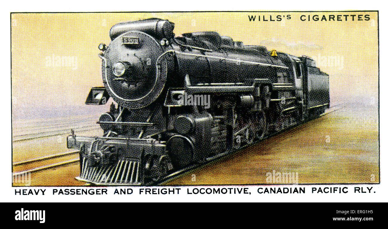 Canadian Pacific Locomotive. 1930s. Heavy passenger and freight locomotive on the Canadian Pacific Railway. 2-10 - Stock Image