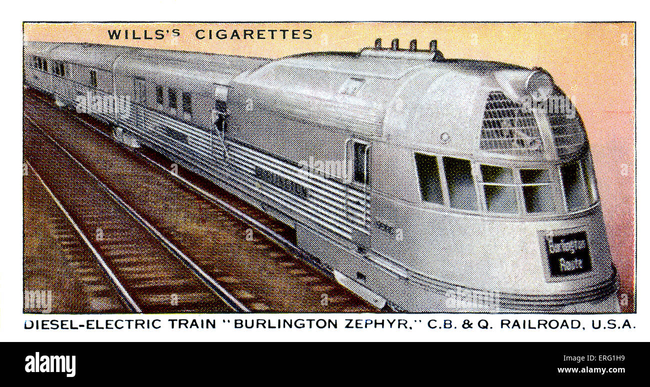 'Burlington Zephyr' Locomotive. Diesel-Electric train, U.S.A. Streamlined diesel engine on the Chicago, - Stock Image