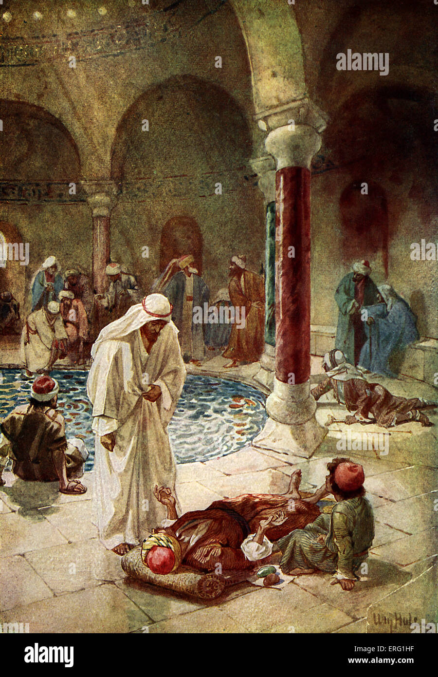 Jesus cures a sick man who is unable to reach the pool at Bethesda, which contains healing waters.. 'Sir, I - Stock Image