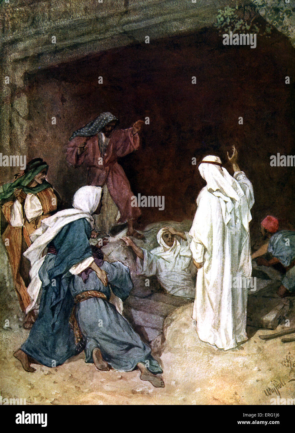Jesus raises Lazarus from the dead before Martha and Mary. 'He cried with a loud voice, Lazarus, come forth. And Stock Photo