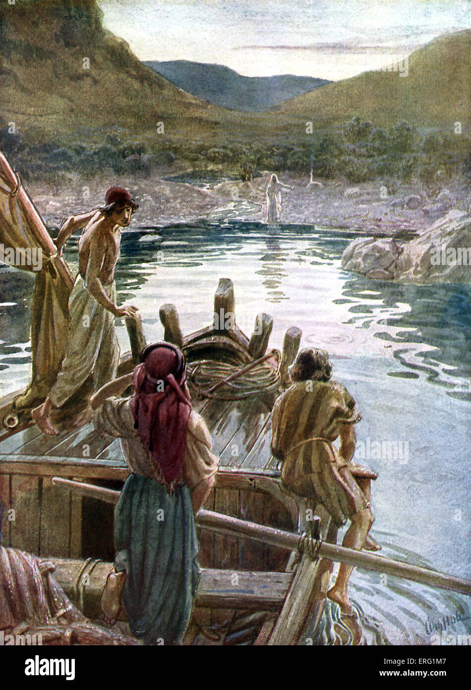 Jesus appears to the disciples at the sea of Galilee. 'Cast the net on the right side of the ship, and ye shall - Stock Image