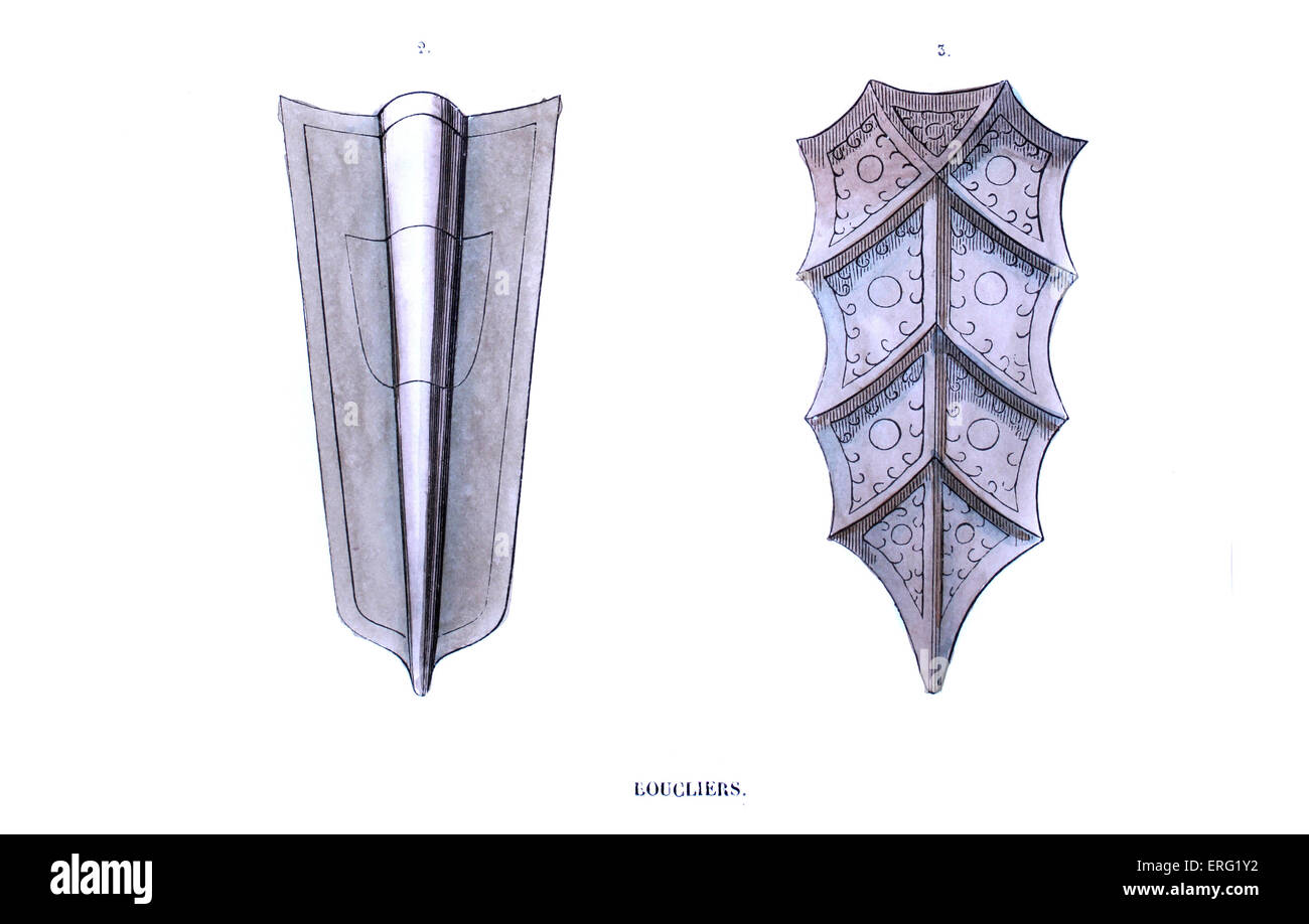 Infantry shields ('pannes'), made of light wood and covered with metal. 14th century. c. 1847, hand-painted - Stock Image