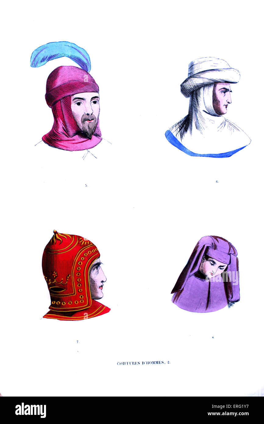 14/15th century - Men 's hat. Top left: pink headdress with blue feather, top right: white stuffed- brim turban - Stock Image