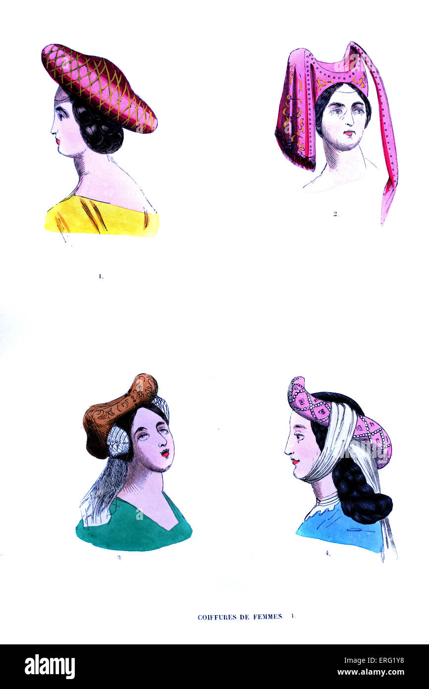 15th century - women 's hat. Top left: red roundel hat with cross-hatch pattern, top right: pink embroidered - Stock Image