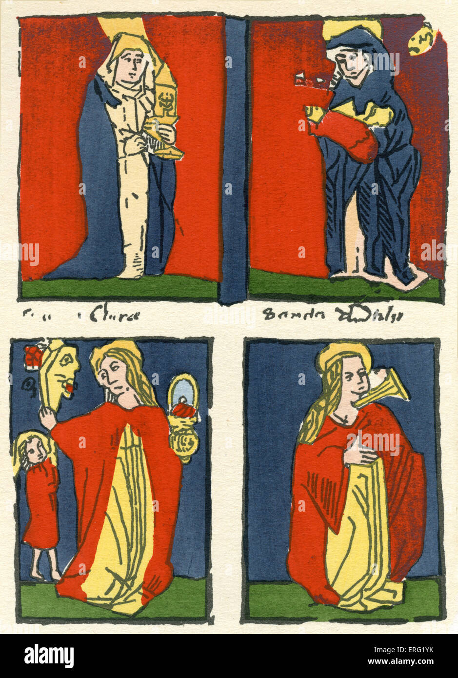 Four saints holding iconography.  Engraving created in Augsburg between 1460 and 1470. - Stock Image