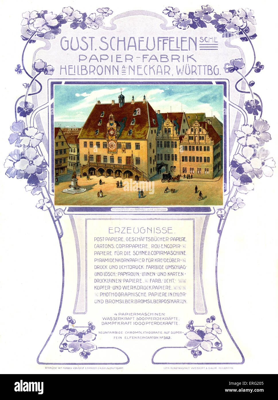 Geman advert for the Gustav Schäuffelen paper factory in Heilbron am Neckar, Württemberg.  Picture shows - Stock Image