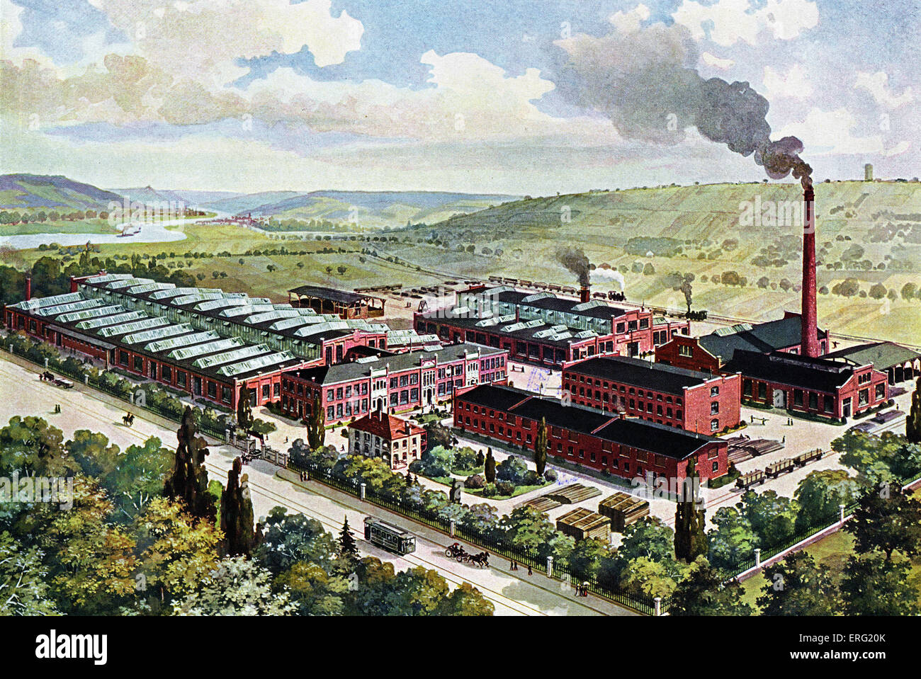 German advert for the König and Bauer machine factory, Würzburg. - Stock Image