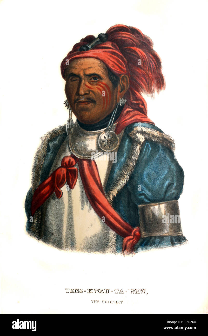 Tenskwautawaw, or 'the Prophet', 1775 – November 1836. Native American religious leader of the Shawnee tribe, - Stock Image
