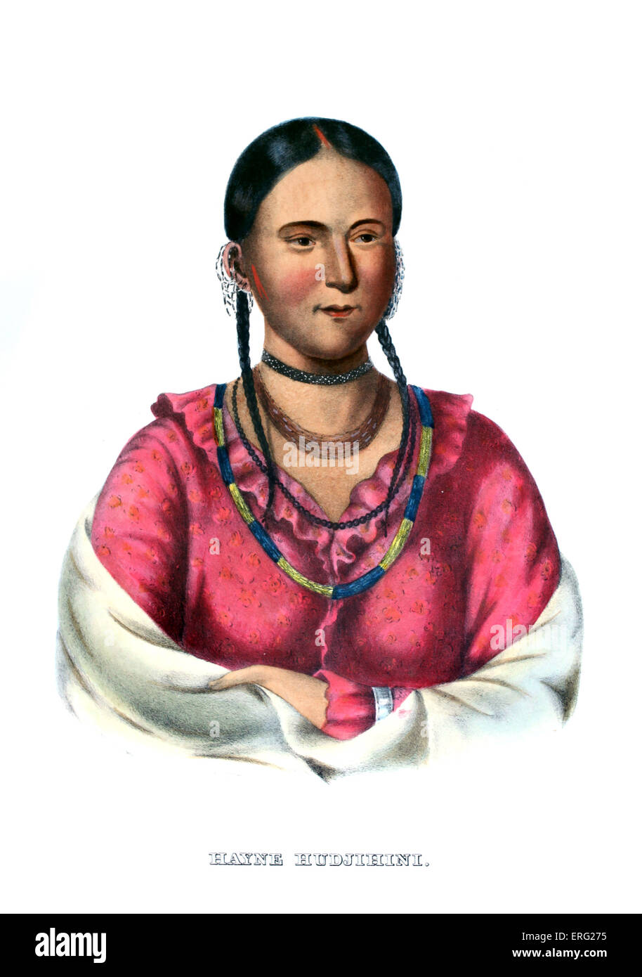 Hayne Hudjihini, or Eagle of Delight. Favourite wife of Shaumonekusse, Native American chief of the Oto tribe. Portrait - Stock Image