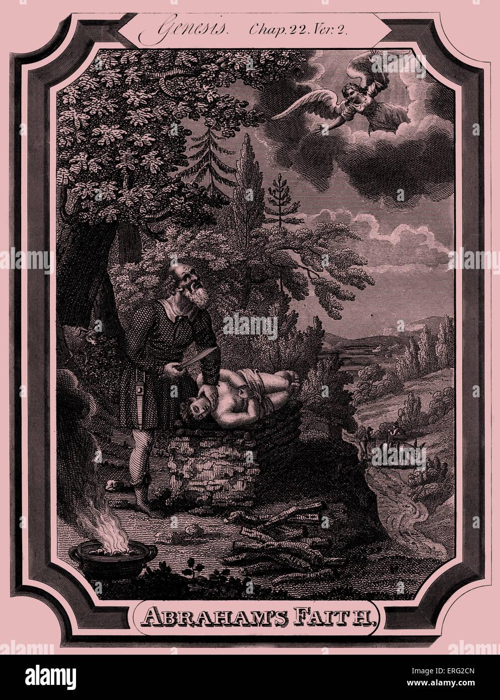 Abraham prepares to sacrifice his son, Isaac, when an angel intervenes. Caption reads: Abraham's faith. Genesis, - Stock Image
