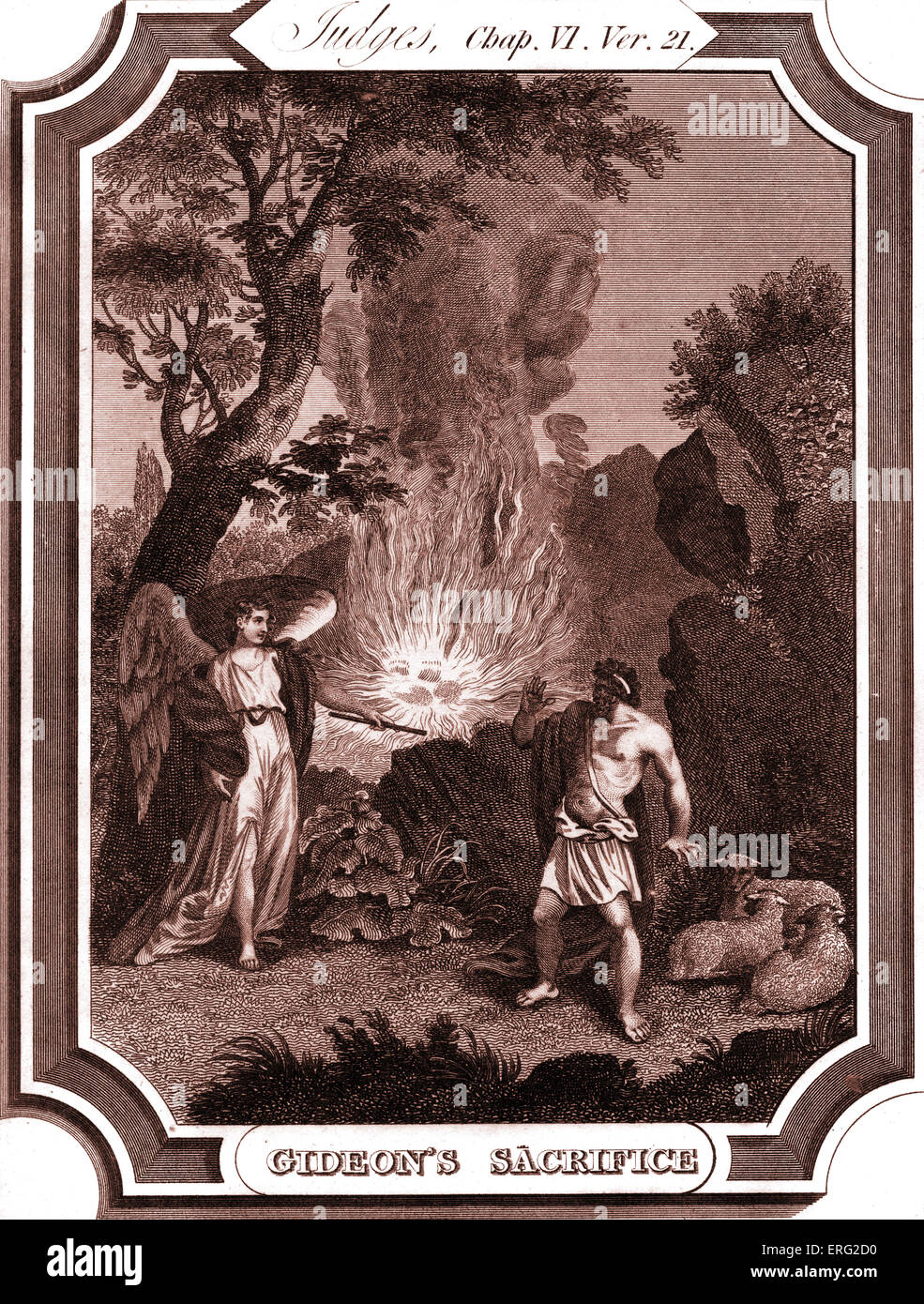 Gideon makes an offering of meat and bread. He knows that he is speaking to the angel of God when flames burst from - Stock Image