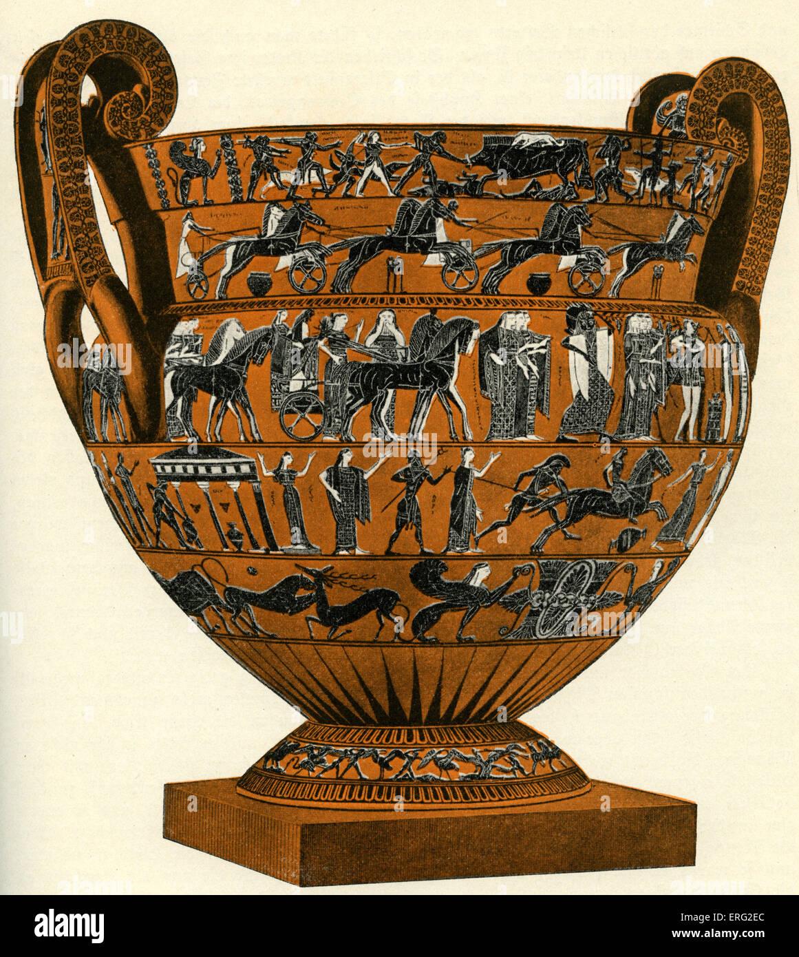 Black figure vase.  Krater by Ergotimos and Klitias of Athens, circa 6th century BCE. - Stock Image