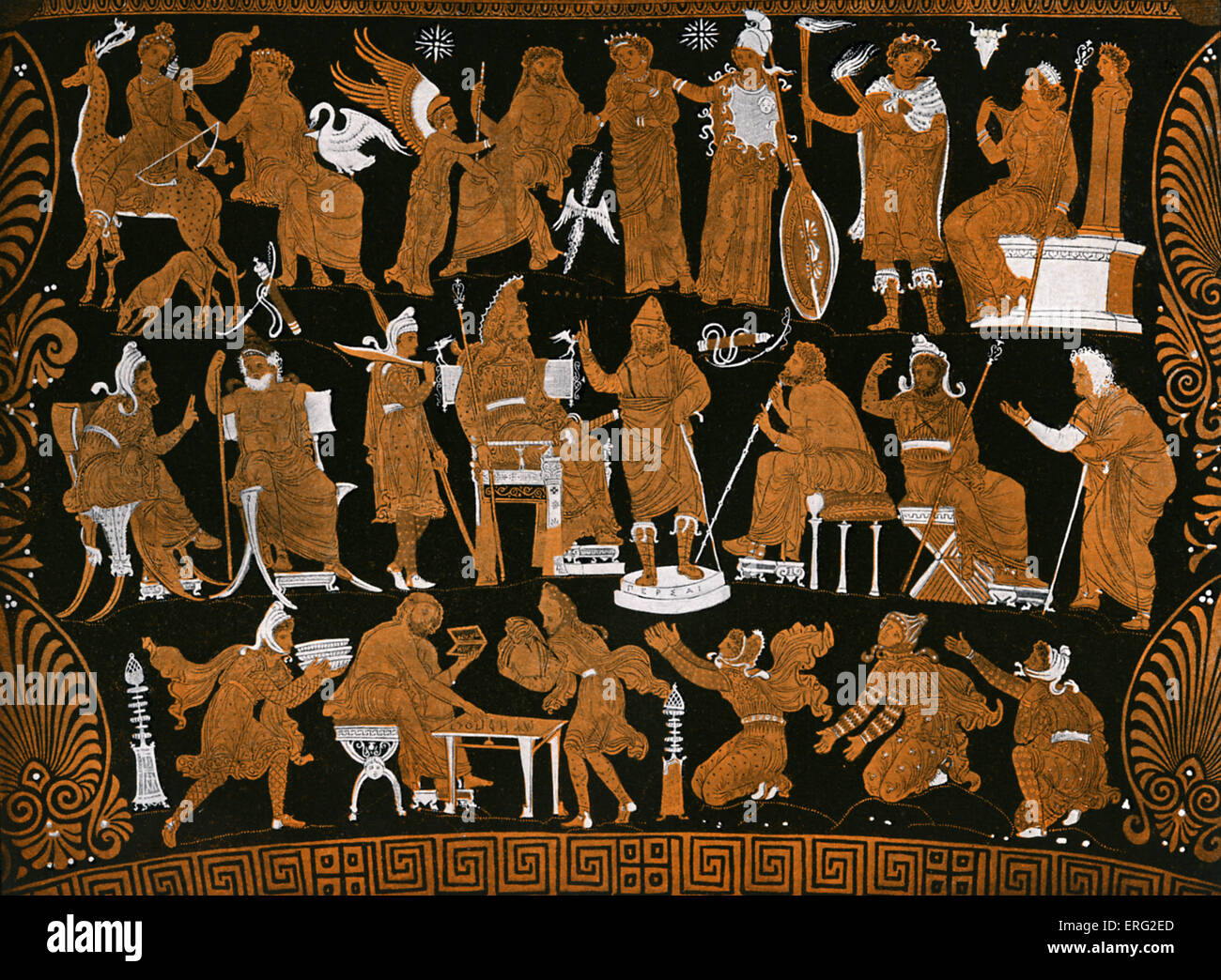 The war council of Darius, presented on a Greek red figure vase.  Darius King of Persia 549 BCE - 486 BCE. - Stock Image