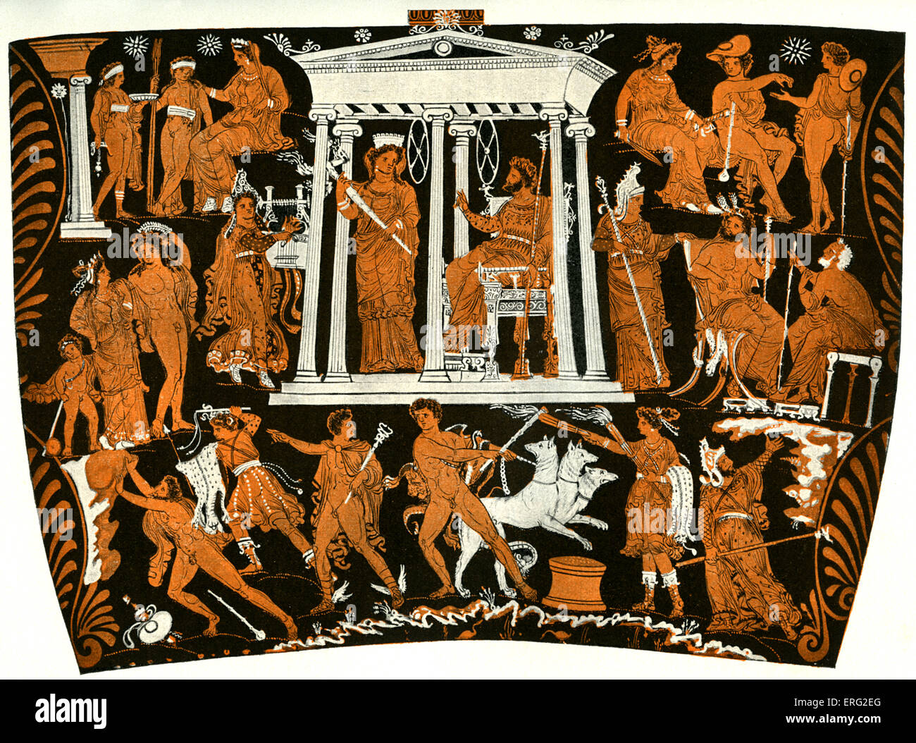 Tarantine Greek red figure vase showing the underworld.  Hades and Persephone hold court in the centre with Aeacus, - Stock Image
