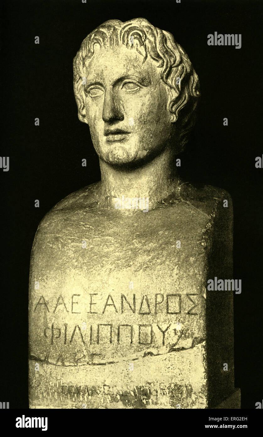 Bust of Alexander the Great.  Inscription 'Alexander Philip's (son)'.  Alexander Macedonian general - Stock Image
