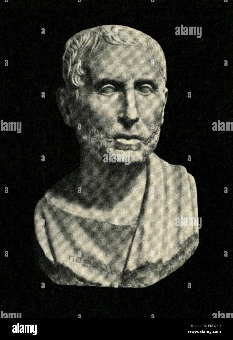 Bust of Posidonius of Rhodes, Greek Stoic philosopher and polymath 135 BCE - 51 BCE. - Stock Image