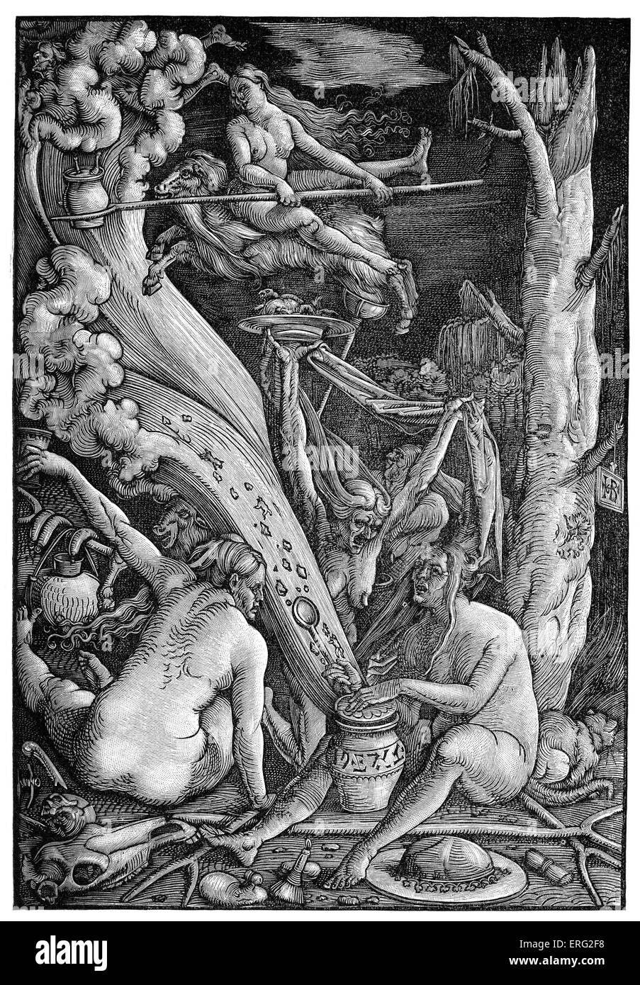 A witches coven working magic, brewing potions.  German sixteenth century woodcut by Hans Baldung Grien - German - Stock Image