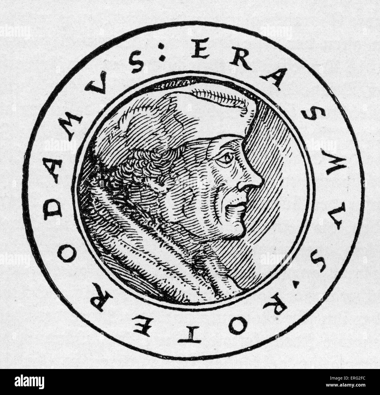 Erasmus von Rotterdam Dutch renaissance humanist and theologian 27 October 1466 - 12 July 1536.  After a German - Stock Image