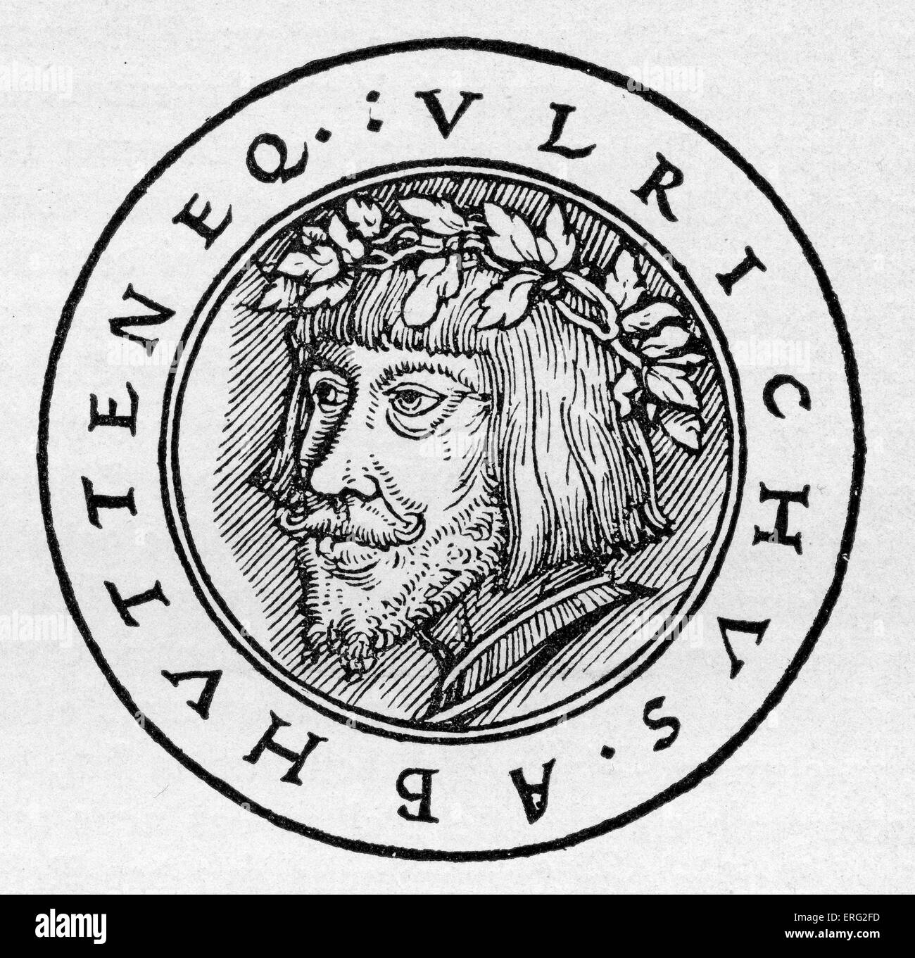 Ulrich von Hutten German Church reformer 21 April 1488 - 29 August 1523.  After a German woodcut dated 1523. - Stock Image