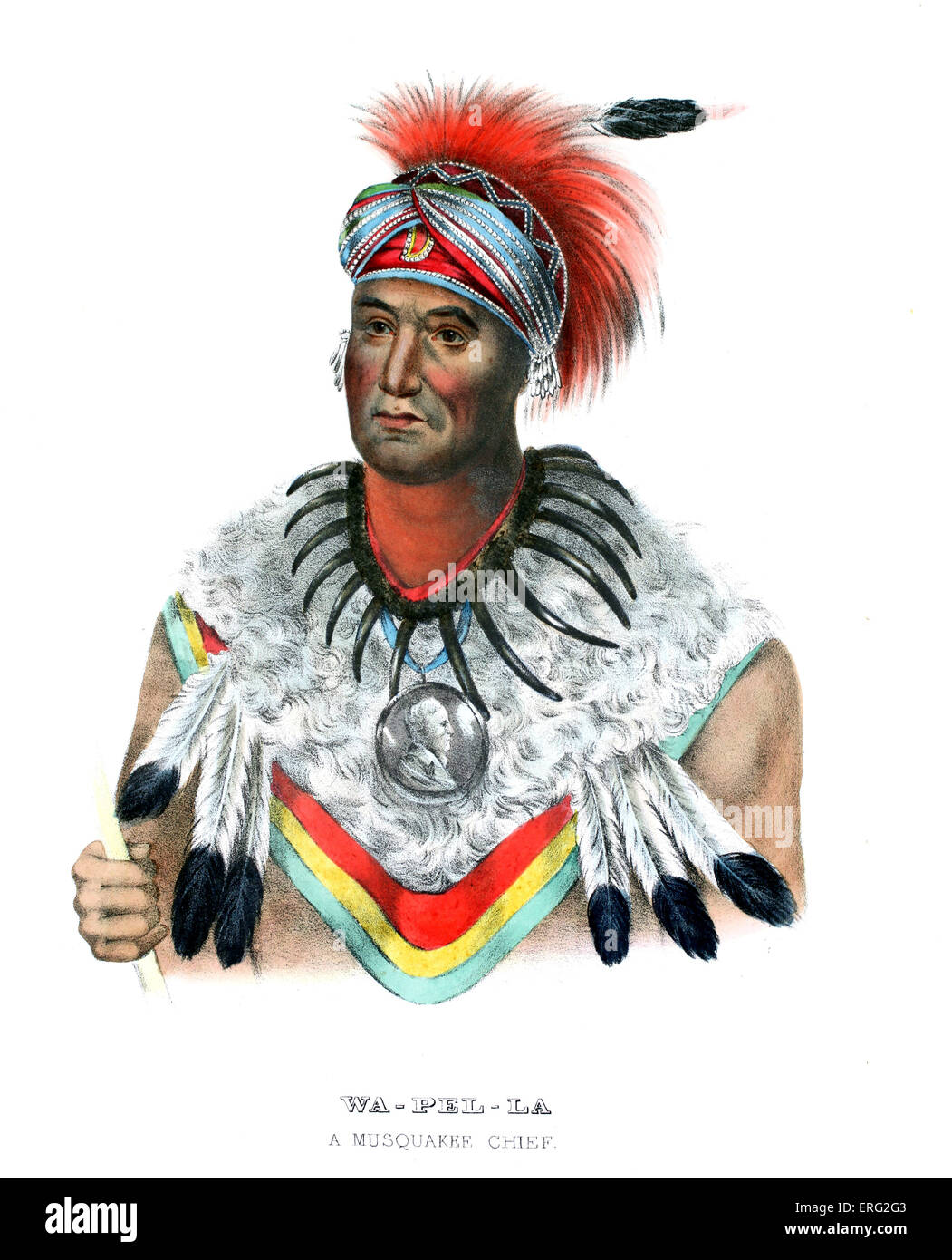 Wapella, Native American chief of the Foxes (Musquakees) who accompanied Keokuk, chief of Foxes and Sauks, to Washington - Stock Image