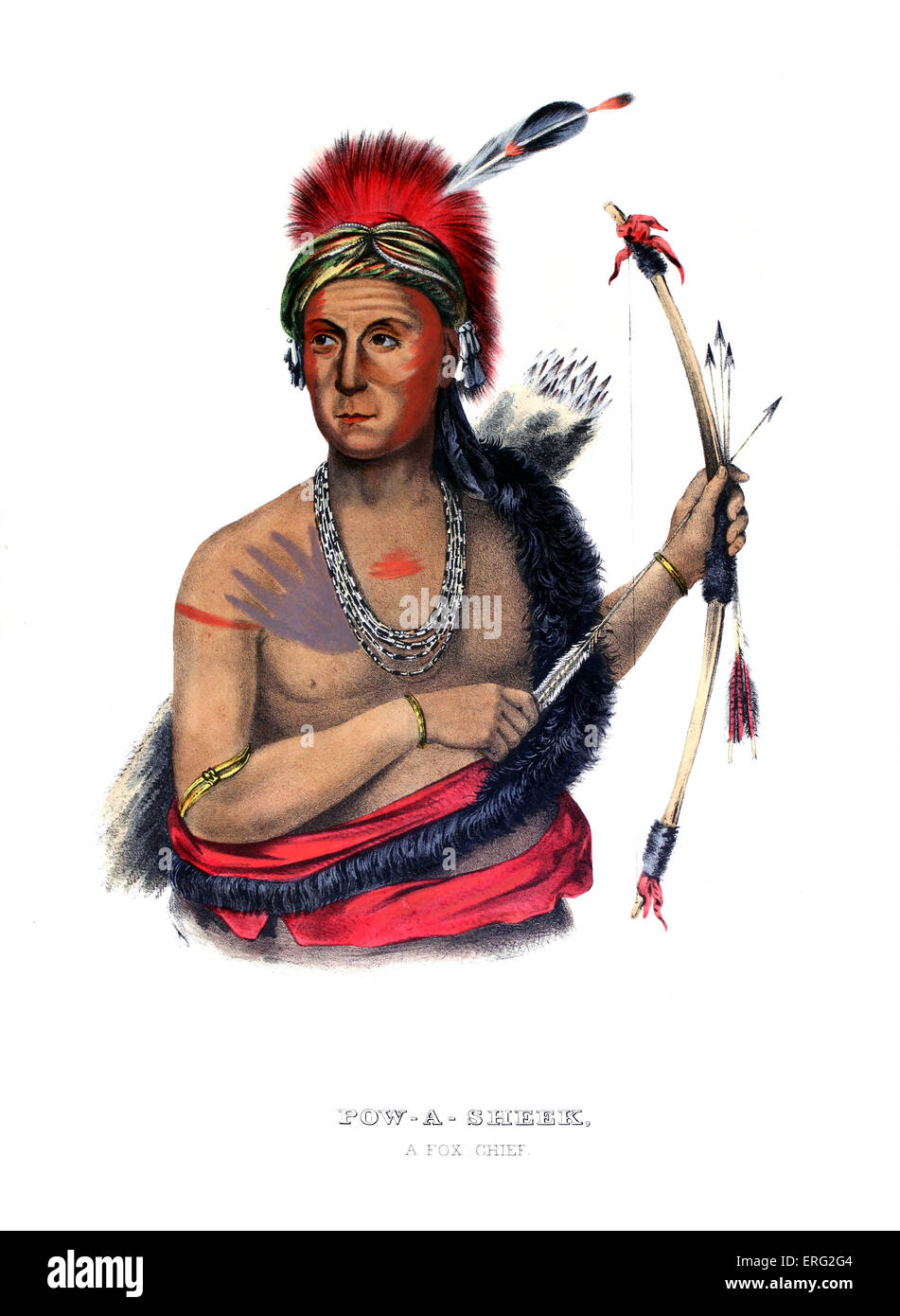 Powasheek, Native American chief of the Foxes (Musquakees) holding bow and arrow. After painting by Charles Bird - Stock Image