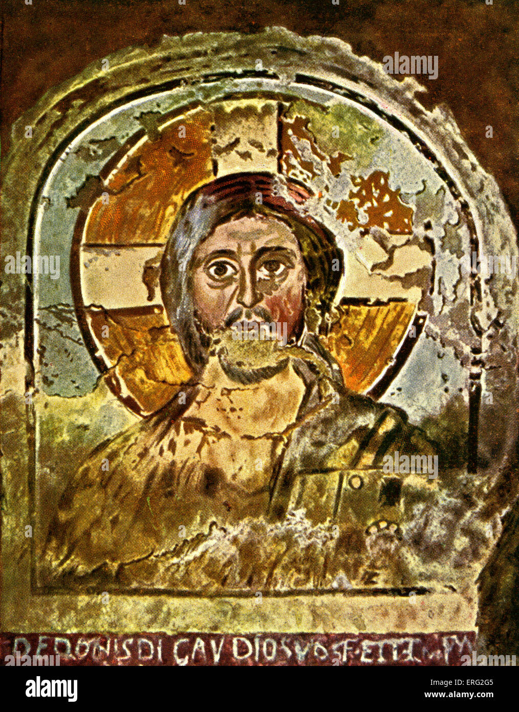 Fresco depicting Jesus with a cruciform halo.  Early Christian fresco in the Ponzianus catacombe, Rome, Italy.  - Stock Image