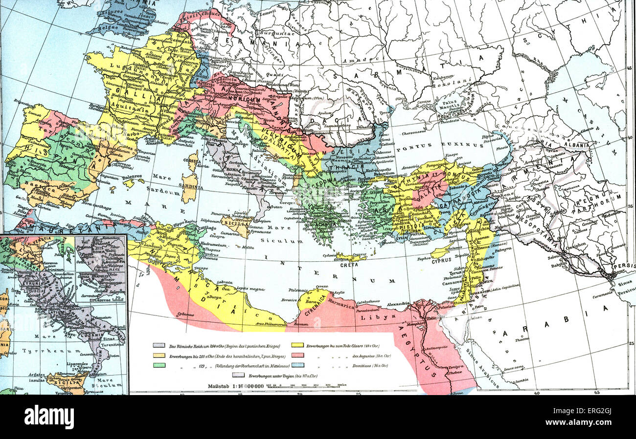 Map showing the Roman empire at its largest.  Third century B.C.E. to second century C.E. (German source) - Stock Image
