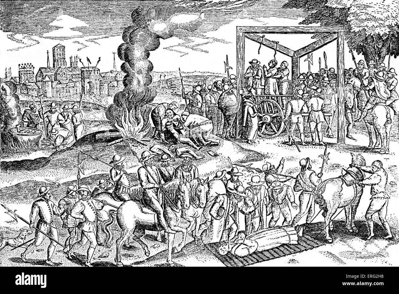 The hanging of Protestants in England during the reign of Mary, Queen of Scots,  8 December 1542 - 8 February 1587. - Stock Image