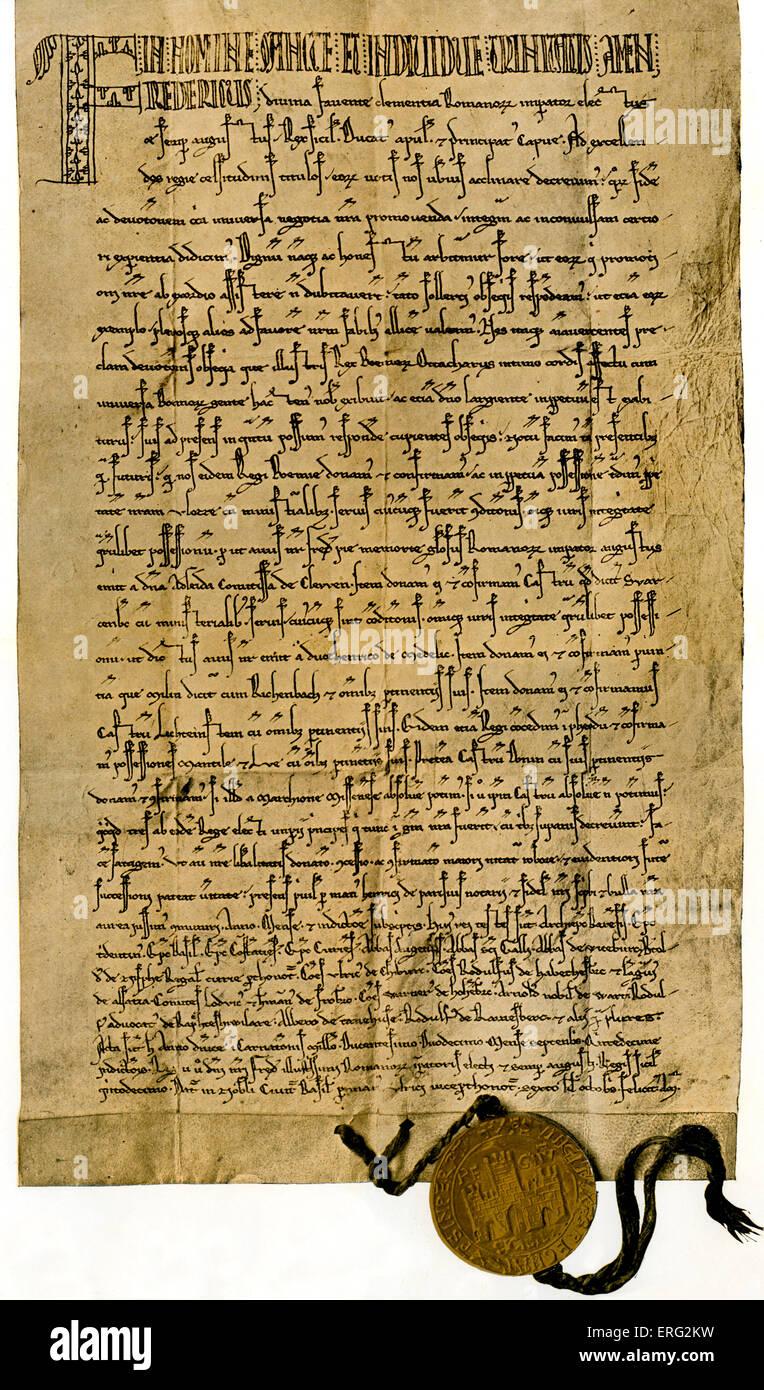 Kaiser Frederic II's charter of 26 September 1212 granting King Ottokar I of Bohemia  more land for services - Stock Image