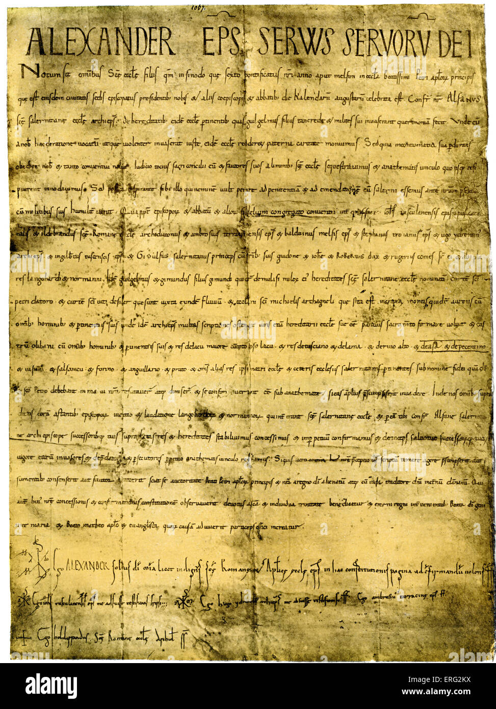 Papal bull of Pope Alexander II signed personally by arch-deacon Hildebrand, later Pope Gregory VII.  Pope Alexander - Stock Image
