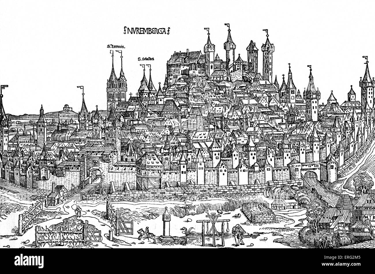 Nurnburg view  in the 15th century.  From Hartmann Schedel's 'Chronicle of the World'  /Weltchronik - Stock Image