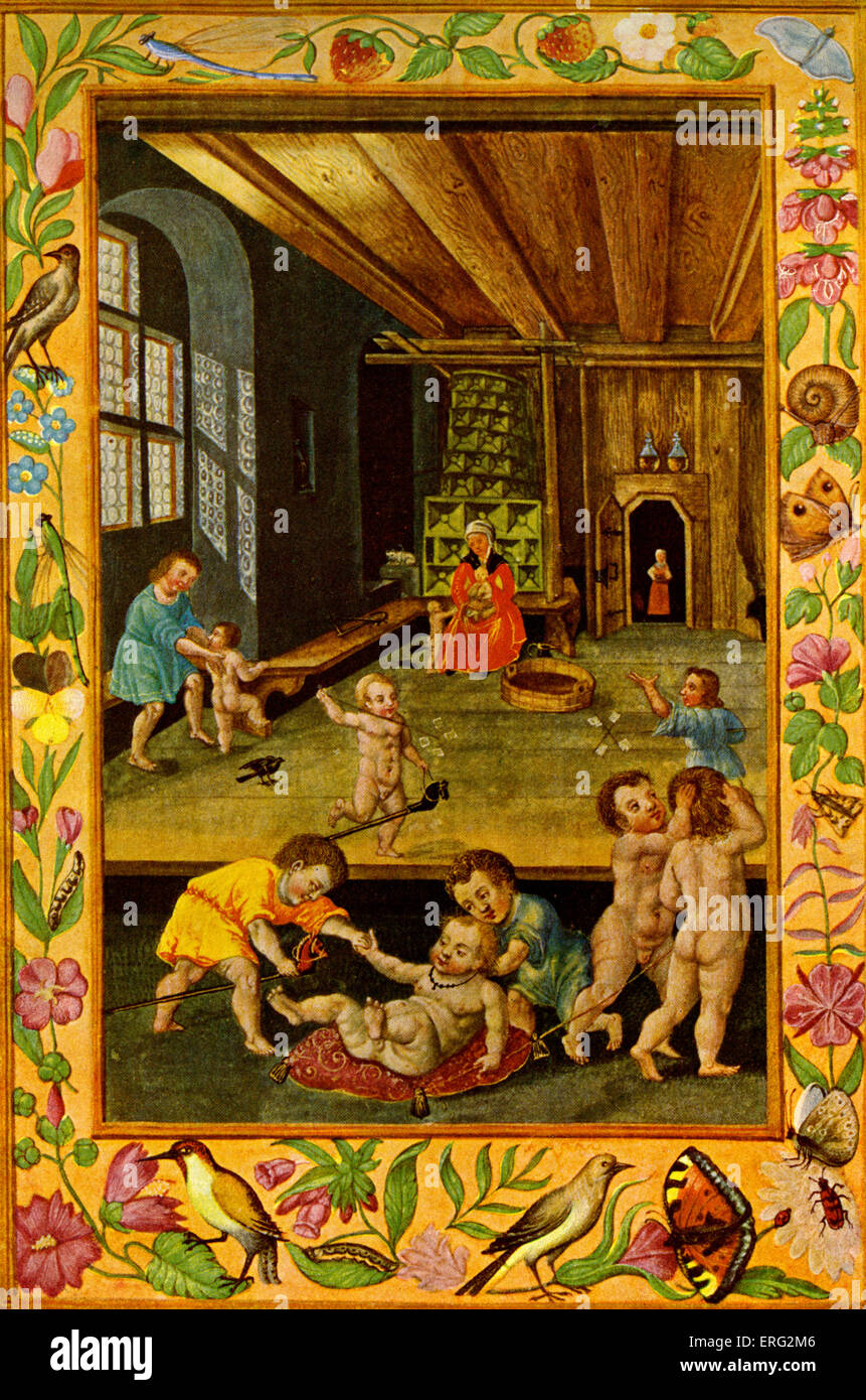Infants at play in the nursery of a German house with a decorative surround.  Illustration from an alchemist's - Stock Image