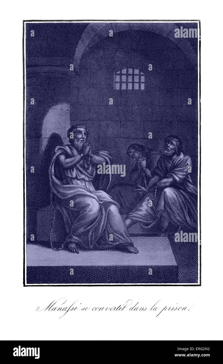 Manasseh repents in prison having reversed the religious reforms of his father Hezekiah. Bible. Judean King. - Stock Image