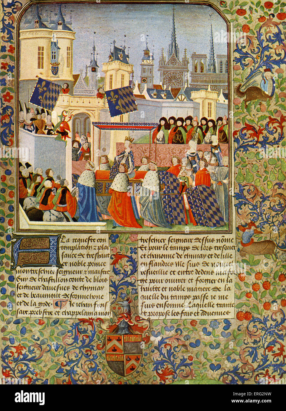 The entry of Queen Isabel into Paris in 1389, from Froissart's Chronicles by Jean Froissart. JF: chronicler - Stock Image