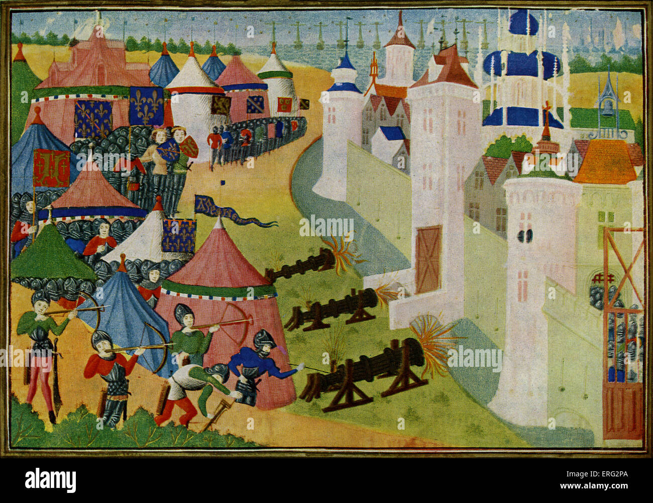 The Assault on the strong town of Afrique, modern Mehadia, Tunisia, from Froissart's Chronicles by Jean Froissart, - Stock Image
