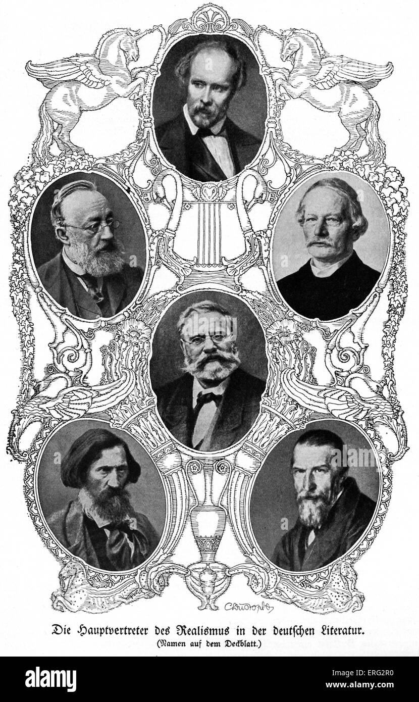 Six famous German realist authors.  Friedrich Hebbel 18 March 1813 - 13 December 1863; 19 July 1819 - 15 Jult 1890; - Stock Image