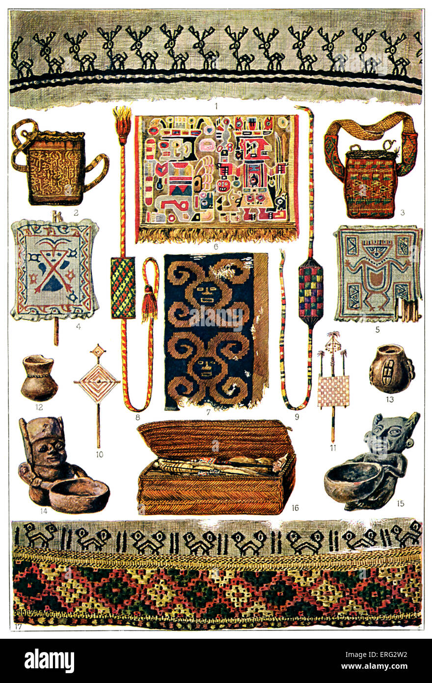 Pre-Columbian Peruvian objects including examples of cotton representational art and bags as well as small pots - Stock Image