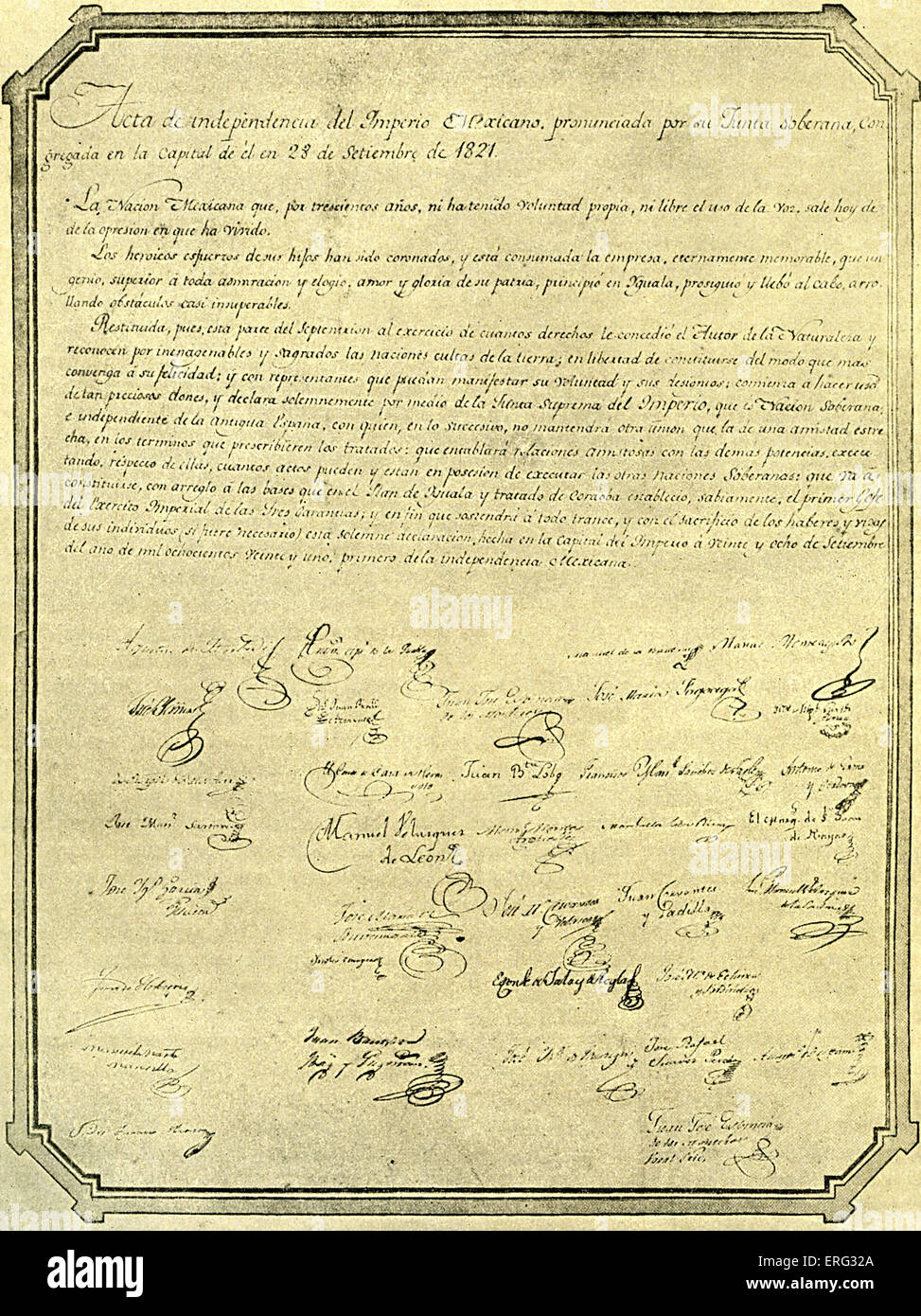 Mexican Declaration of Independence, 28 September 1820. - Stock Image