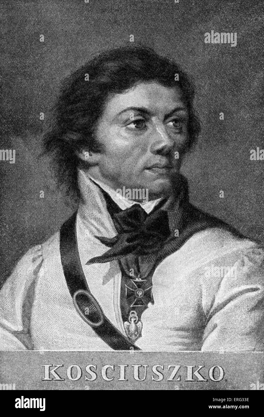 Tadeusz Kosciuszko, Polish military commander and national hero.  4 February 1746 - 15 October 1817. - Stock Image