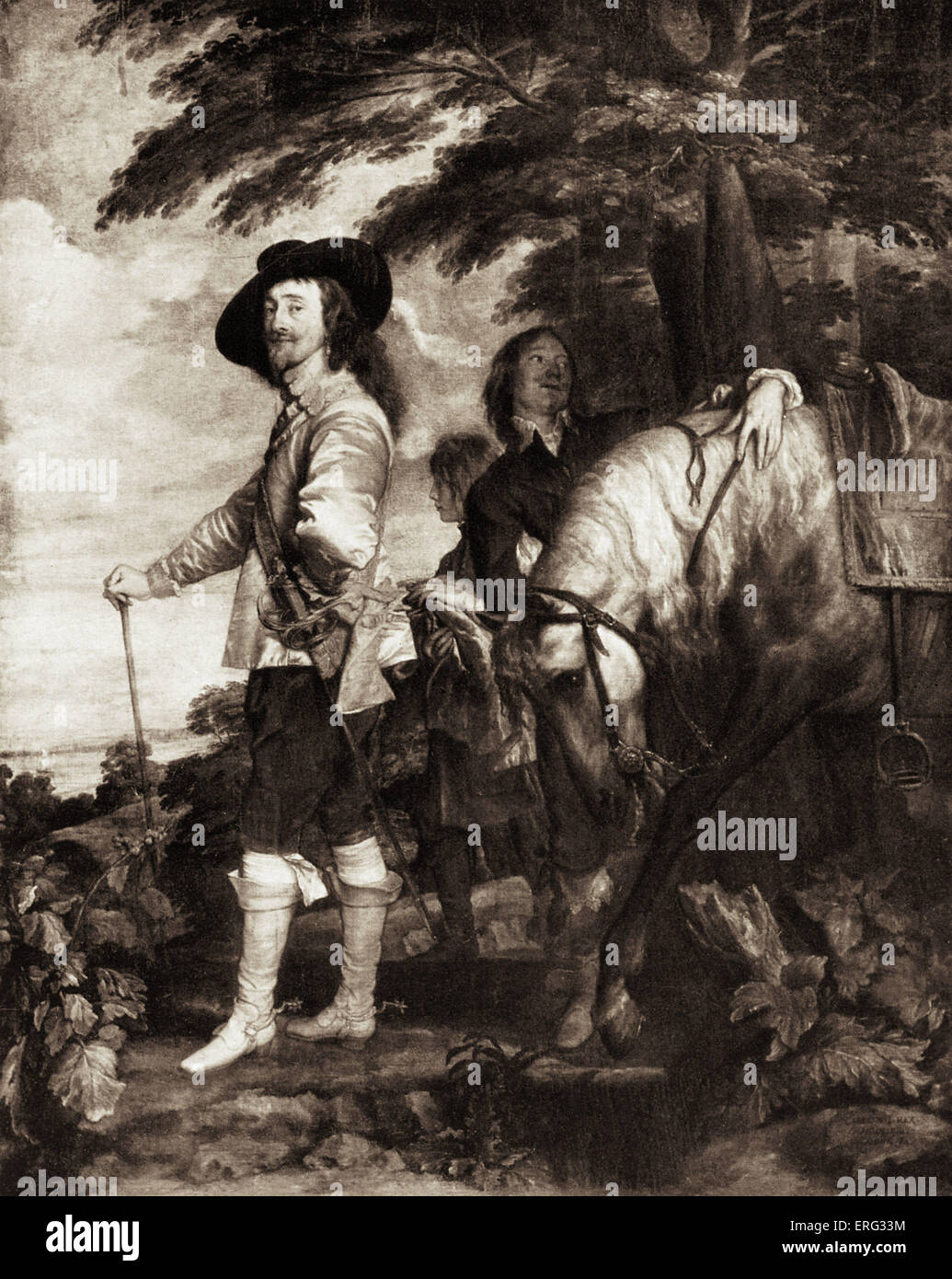 King Charles I of England, after a painting by Anthony van Dyck.  Charles  I 19 November 1600 - 30 January 1649; - Stock Image