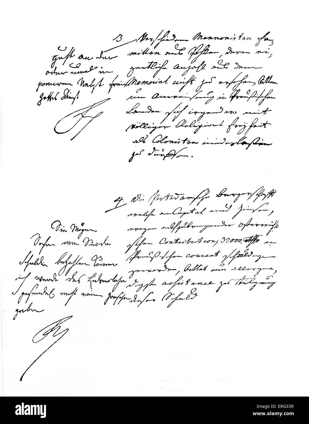 Hand-written notes of Frederick II, King of Prussia 24 January 1712 - 17 August 1786. - Stock Image