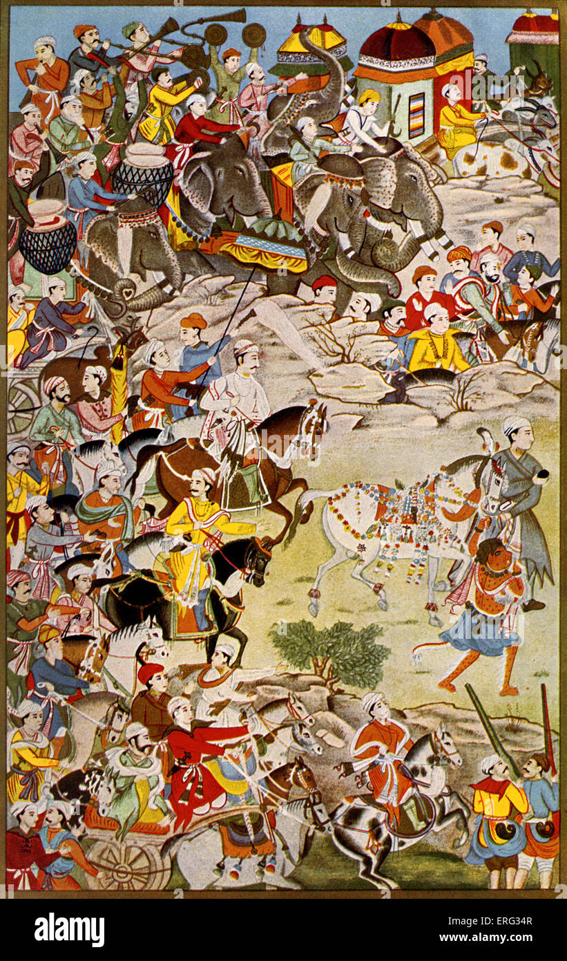 March of the grand Mughal, Akbar the Great, third Mughal emperor of India 15 October 1542 - 27 October 1605.  After - Stock Image