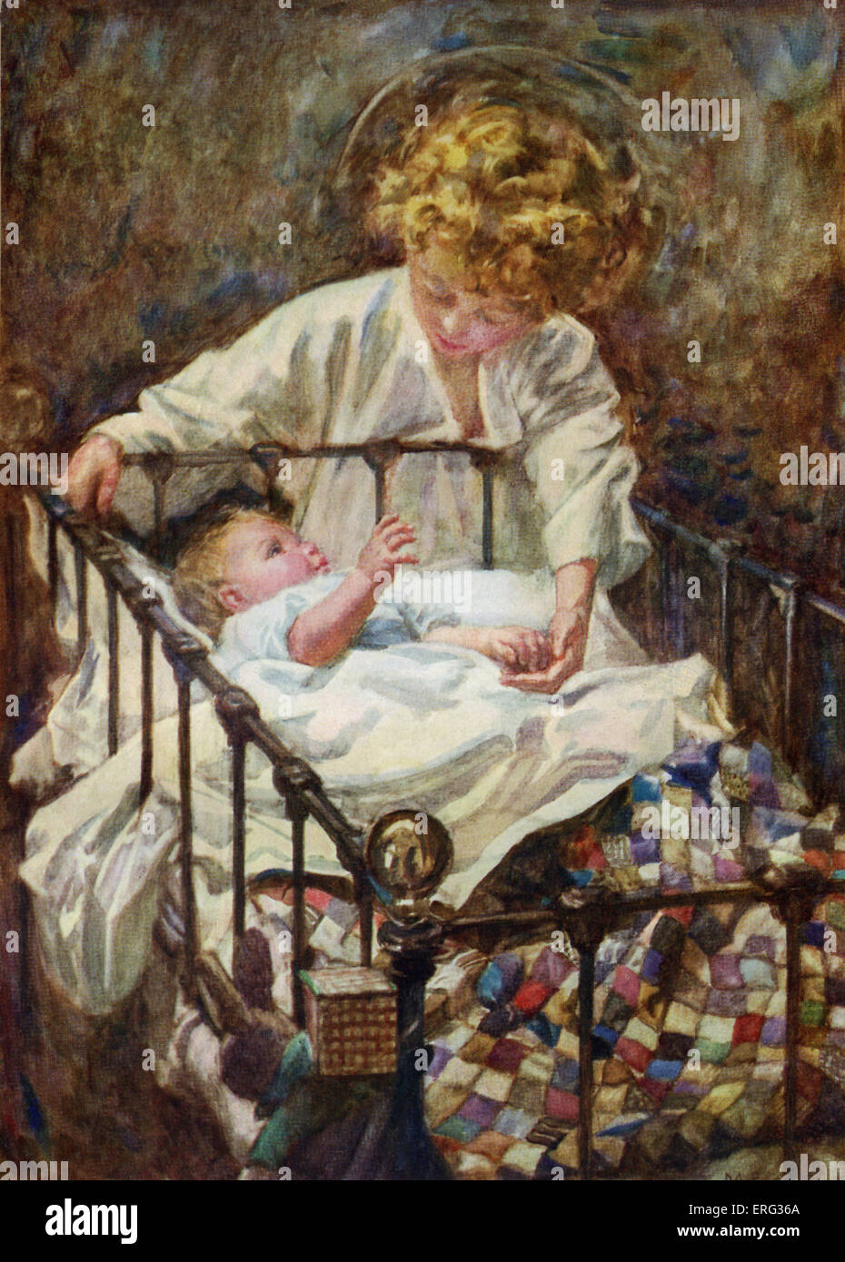 An angel bends over a baby's cot, illustration by M. E. Gray, to 'One Year Old', a poem by Marjory Royce. - Stock Image
