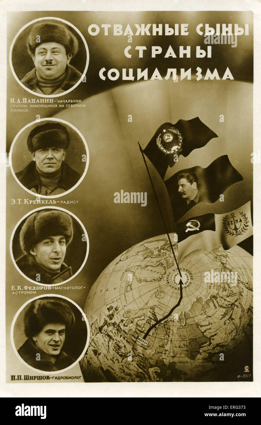 Russian polar explorers. Caption 'Plucky sons of the country of socialism.' Ivan Dmitrievich Papanin - team - Stock Image