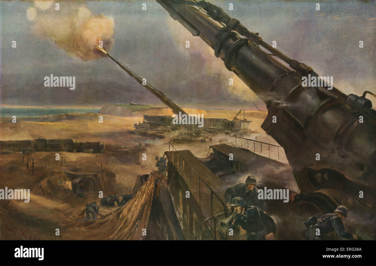 Futuristic German weapons to be used to attack Britain. 'Des batteries a longue portée en position de tir' - Stock Image
