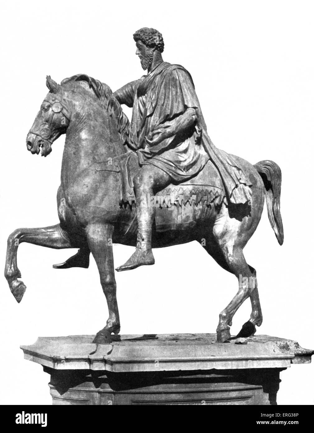 Marcus Aurelius, sculpture , while mounted.  Marcus Aurelius Antoninus Augustus, Roman Emperor 26 April 121 - 17 - Stock Image