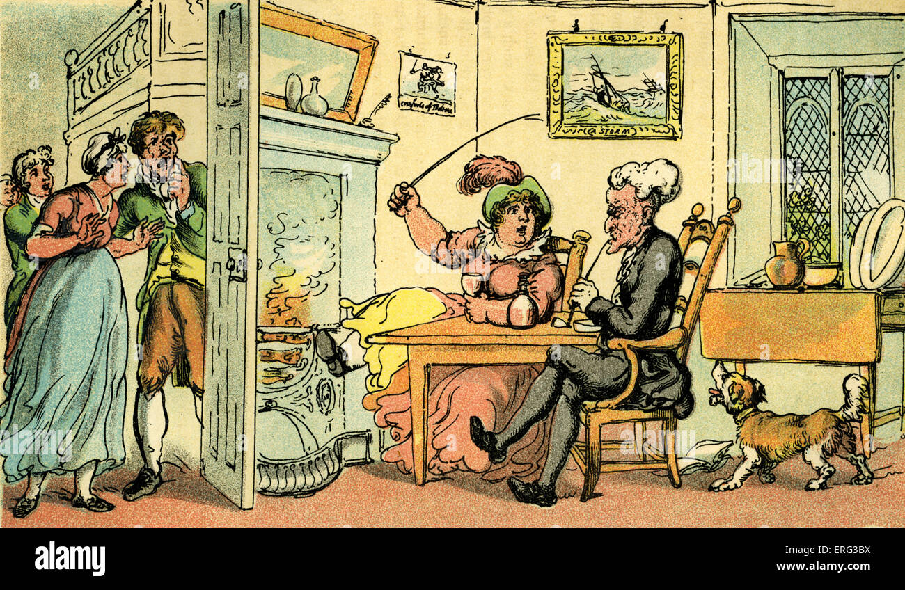 'Dr Syntax returned from his tour', illustration by Thomas Rowlandson from 'Doctor Syntax's Tour - Stock Image